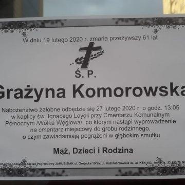 TMPTiK żegna żonę p. Pawła Komorowskiego