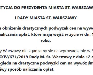 Nie dla podwyżki cen wywozu śmieci w Warszawie. Podpisz petycję!